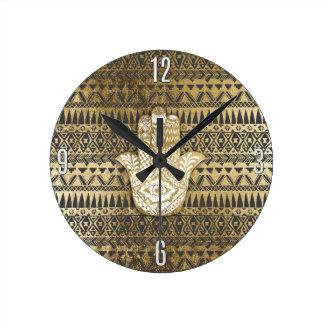 Main de Hamsa d'or d'impression de Faux et Aztèque Horloge Ronde