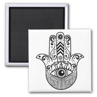 Main de Hamsa noire et blanche Magnet Carré