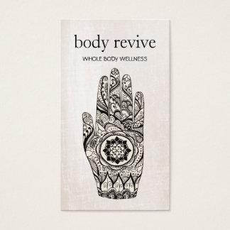 Main de henné de guérisseur d'énergie et de cartes de visite