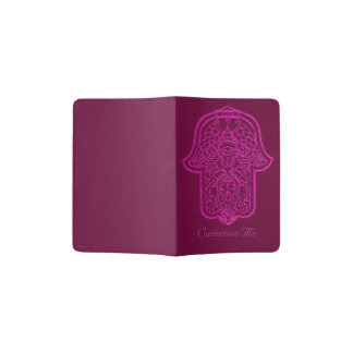 Main de henné de Hamsa (rose) Protège-passeport