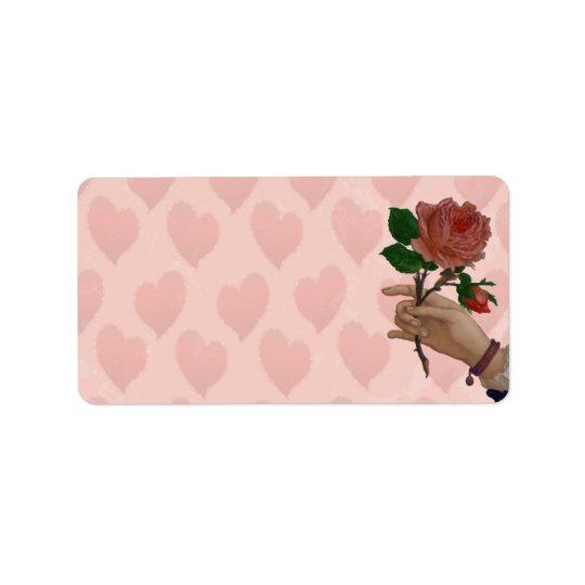 Main de rose rouge de Valentines de l'amitié Étiquette D'adresse