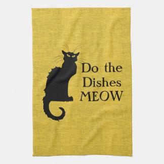 Main drôle de chat ou serviette de cuisine noire