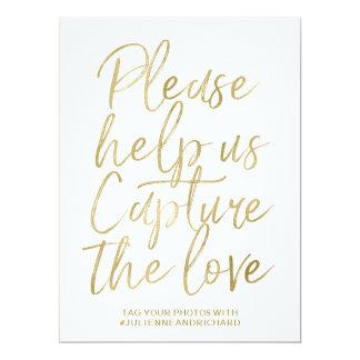 Main élégante d'or du signe | de Hashtag de Carton D'invitation 16,51 Cm X 22,22 Cm