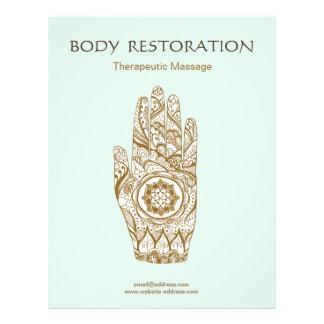 Main Lotus de henné de thérapeute de massage Prospectus 21,6 Cm X 24,94 Cm