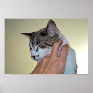 main rayant la conception mignonne de chat de poster