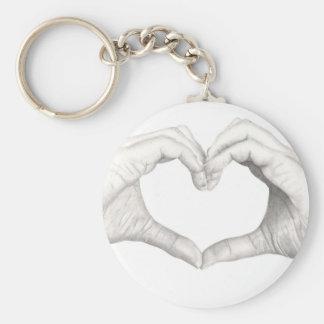 Mains dans la forme d'un coeur porte-clé rond