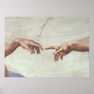 Mains de Dieu et d'Adam Posters