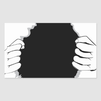 Mains déchirant la surface 2 sticker rectangulaire
