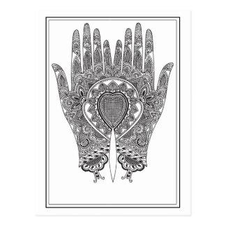 Mains noires de henné cartes postales