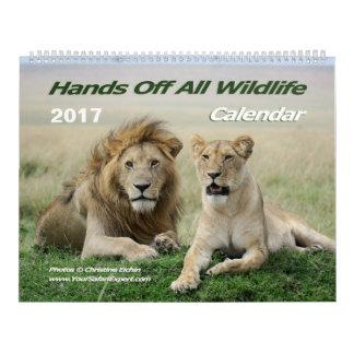 Mains outre de tout le calendrier de faune