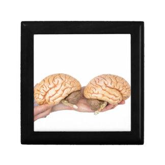 Mains tenant l'esprit humain modèle sur le blanc petite boîte à bijoux carrée