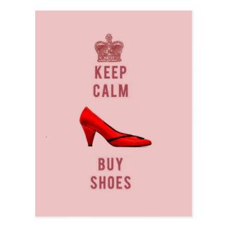 Maintenez calme et achetez les chaussures carte postale