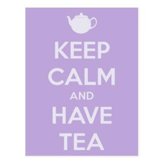 Maintenez calme et ayez la carte postale de thé