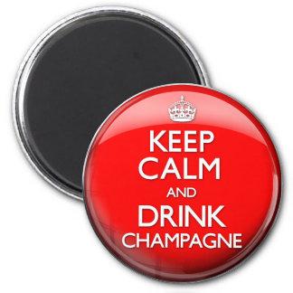 Maintenez calme et boisson Champagne (continuez) Magnet Rond 8 Cm