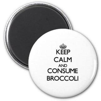Maintenez calme et consommez le brocoli magnet rond 8 cm