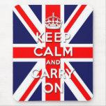 maintenez calme et continuez le drapeau d'Union Ja Tapis De Souris