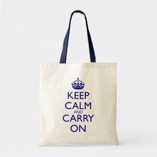 Maintenez calme et continuez le texte de bleu sac de toile