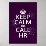 Maintenez calme et l'appel heure (toute couleur) posters