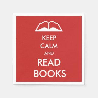 Maintenez calme et lisez les livres serviettes en papier