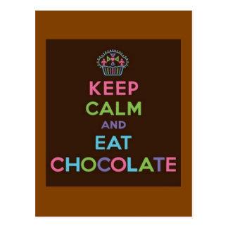 Maintenez calme et mangez du chocolat carte postale