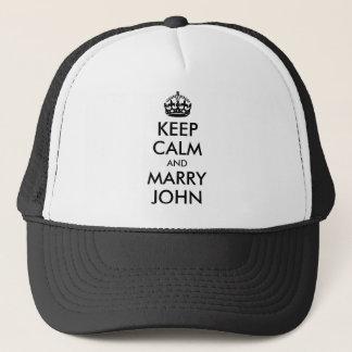 Maintenez calme et mariez le casquette de John