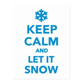 Maintenez calme laissez-le neiger carte postale