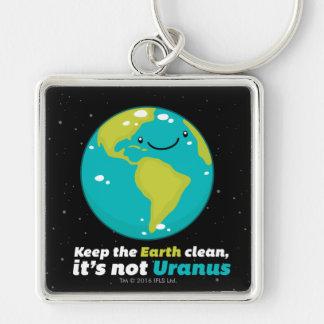 Maintenez la terre propre porte-clé carré argenté