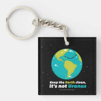Maintenez la terre propre porte-clé carré en acrylique double face