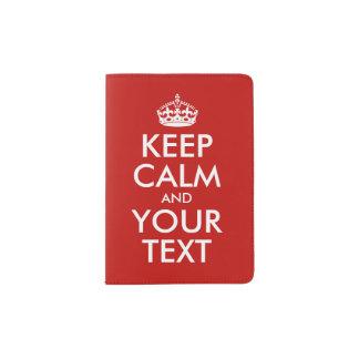 Maintenez le calme et votre rouge des textes protège-passeports