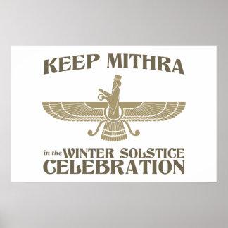 Maintenez Mithra dans la célébration de solstice d Affiches