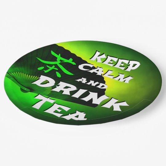 maintenez thé calme et de boissons assiettes en papier