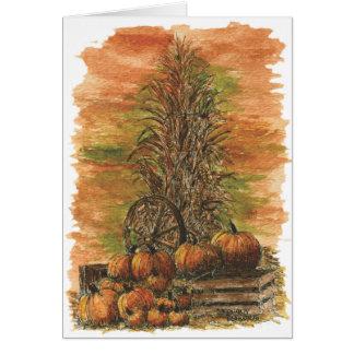 Maïs de chute et carte vierge de citrouilles