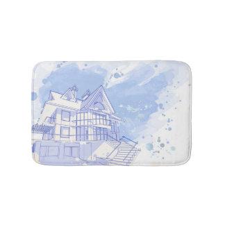 maison : aspiration d'aquarelle tapis de bain