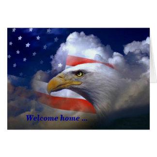 Maison bienvenue et carte de remerciements d'Eagle
