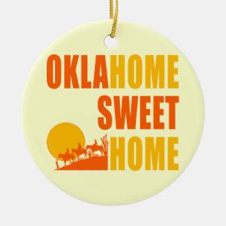 Maison de bonbon à Oklahome Ornement Rond En Céramique