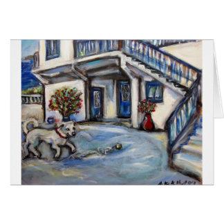 Maison d'île grecque de Santorini avec le petit Carte De Vœux