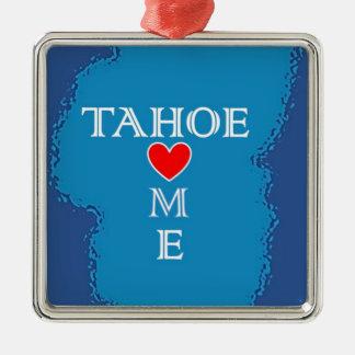 Maison du lac Tahoe Ornement Carré Argenté