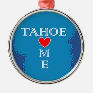 Maison du lac Tahoe Ornement Rond Argenté