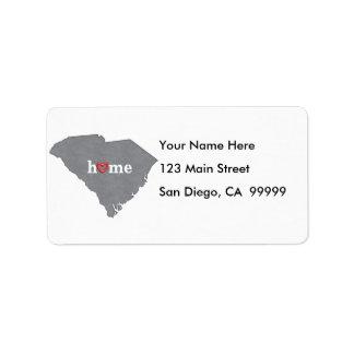 Maison grise de la CAROLINE DU SUD et coeur ouvert Étiquette D'adresse