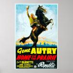 Maison sur l'affiche de film vintage de prairie