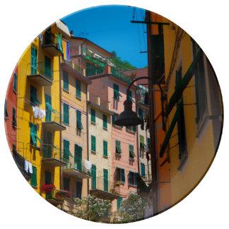 Maisons colorées dans Cinque Terre Italie Assiette En Porcelaine