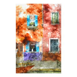 Maisons colorées en île de Burano, Venise Papier À Lettre Personnalisable
