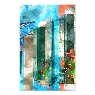 Maisons colorées en île Venise Italie de Burano Papier À Lettre