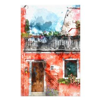 Maisons colorées en île Venise Italie de Burano Papier À Lettre Personnalisable
