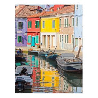 Maisons de couleur en île Burano Italie de Venise Carte Postale
