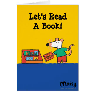 Maisy avec des livres de bibliothèque carte de vœux