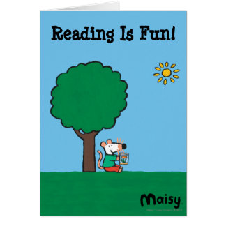 Maisy lit son livre de bibliothèque dehors carte de vœux