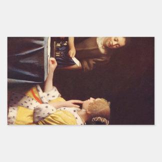 Maîtresse et domestique par Johannes Vermeer Stickers Rectangulaires