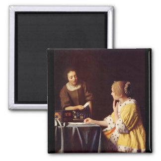 Maîtresse et domestique par Johannes Vermeer Magnet Carré