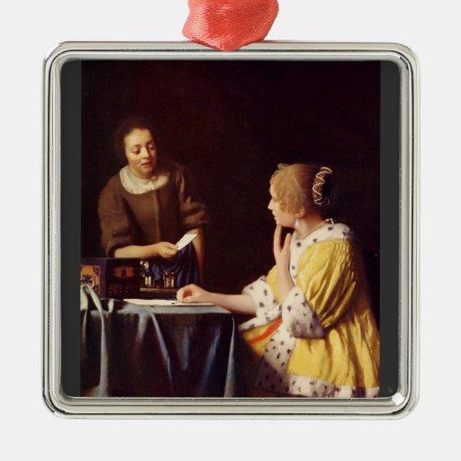 Maîtresse et domestique par Johannes Vermeer Ornement